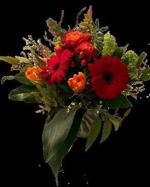 Saisonaler Blumenstrauß rot